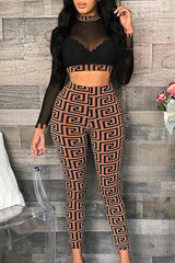Fashion Sexy Mesh Pencil Pants Two-piece Set