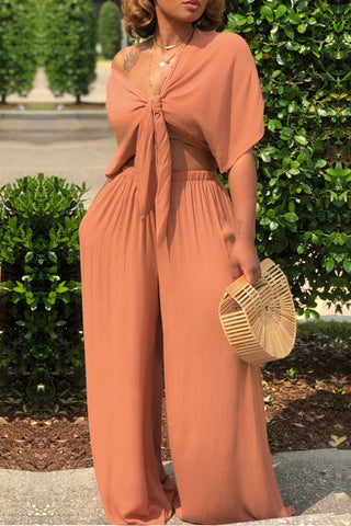 Modishshe Orange Loose Fitting Two-Pieces
