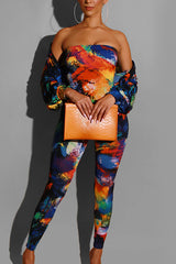 Fashion Colorful Slim Two-piece Set