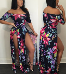 Modishshe Half Sleeve Printed Maxi Dress