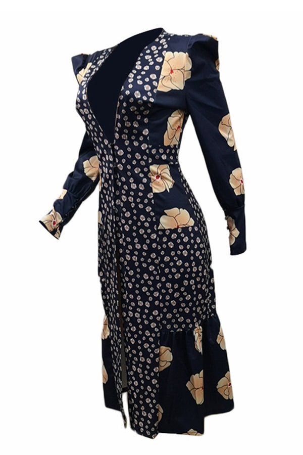 Print Long Sleeve Open Front Dress
