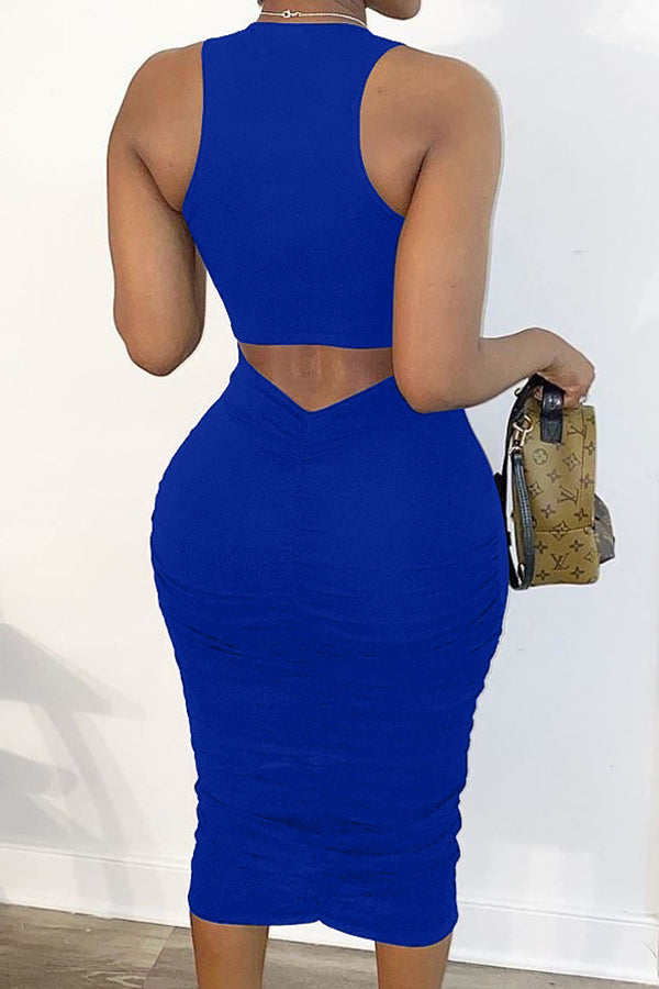 4 Colors Solid Color Sleeveless Wrinkle Irregular Dress