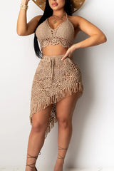 Sexy Solid Color Crochet Tassel Two-piece Set
