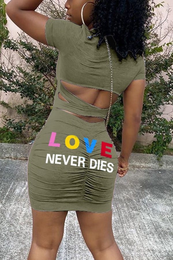 Colored Letters Print Wrinkles Dress