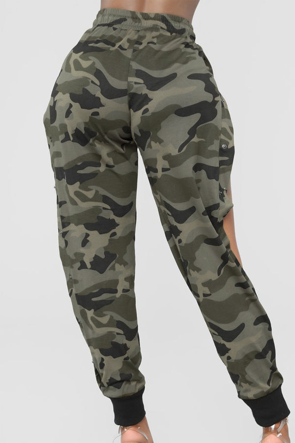 Fashion Button Webbing Camouflage Loose Pants