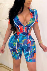 Fashion Print Waistless Tight Rompers