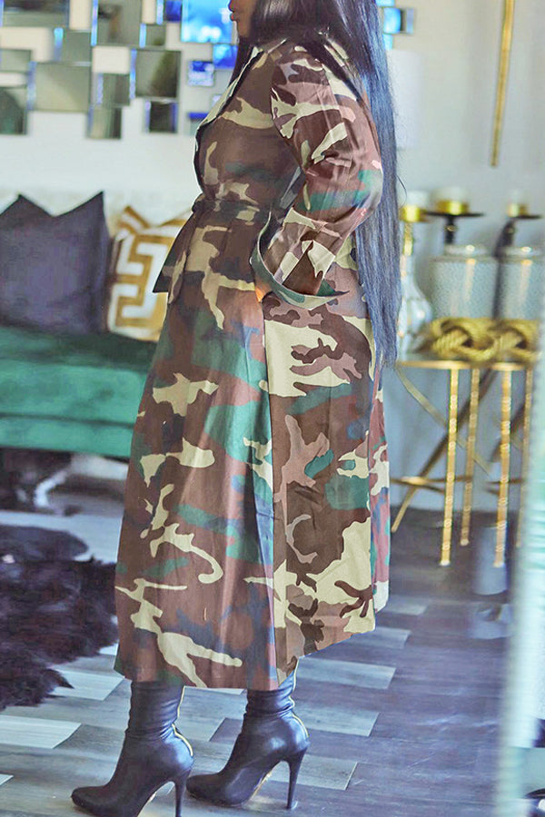 Camouflage Print Tie Waist Long Sleeve Coat