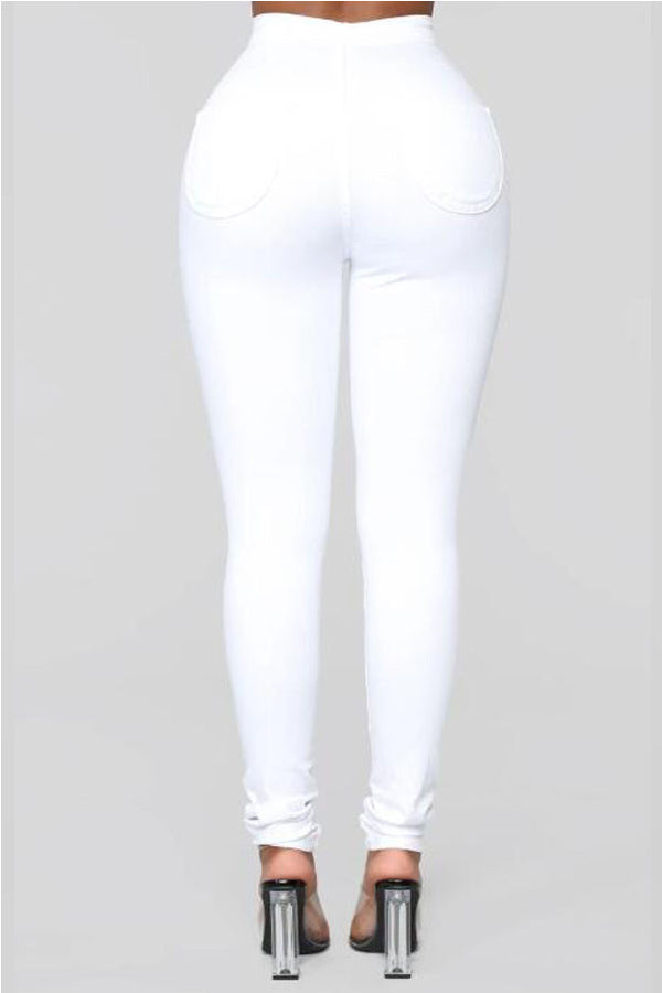 Elastic White Slim Fit Casual Jeans