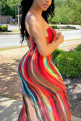 Colorful Tie-dye Strapless Chest Wrap Dress