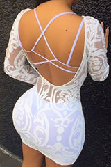 Modishshe Long Sleeve Clubwear White Short Dress