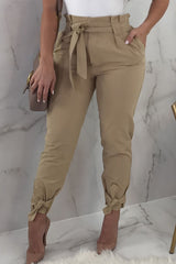 Modishshe Stylish Solid Frill Waist Belted Tied Ankle Casual Pants