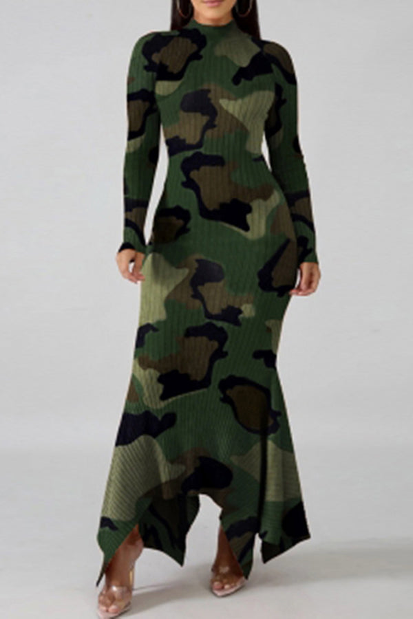 Long Sleeve Camouflage Print Skinny Maxi Dress