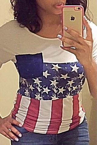 Modishshe Flag Print Casual T-Shirt