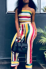 Stripe Print Backless Strappy Two Piece Set