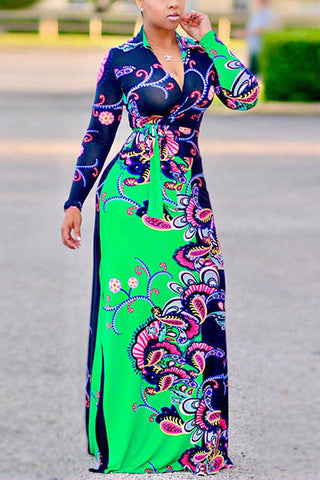 Modishshe Long Sleeve Printing Maxi Dress