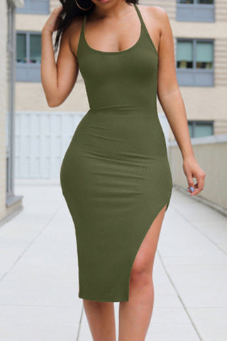 Modishshe Backless Cross Sling Side Slit Midi Dress