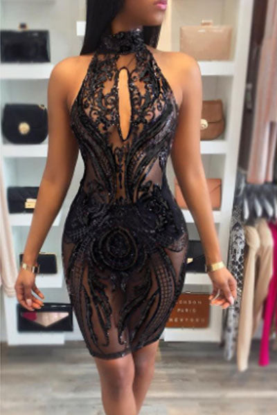 Modishshe Backless Sequined Black Prom Dress