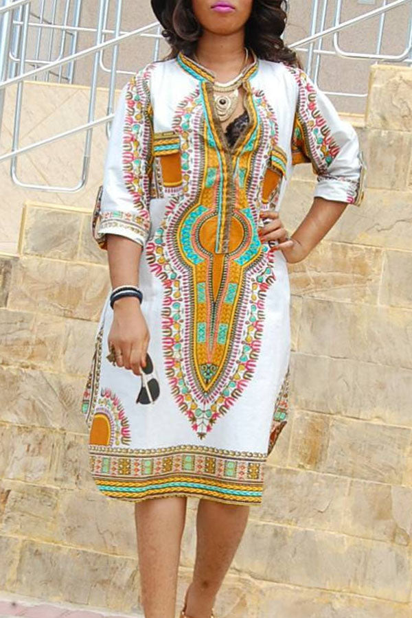 Modishshe Ethnic Style Printed V Neck Midi Dress