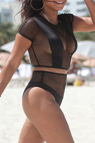 Modishshe High Waist Mesh Panel Two-piece Swimwear