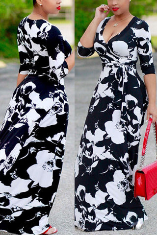 Modishshe Half Sleeved Print Maxi Dress