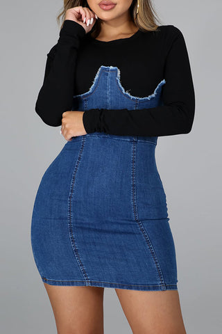 Solid Color Jeans Patchwork Long Sleeve Dress