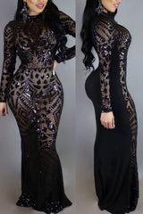 Modishshe Long Sleeved Sequined Maxi Prom Dress