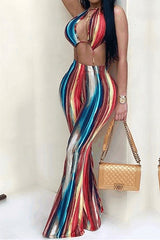 Modishshe Frenulum Slit Backless Print Jumpsuits