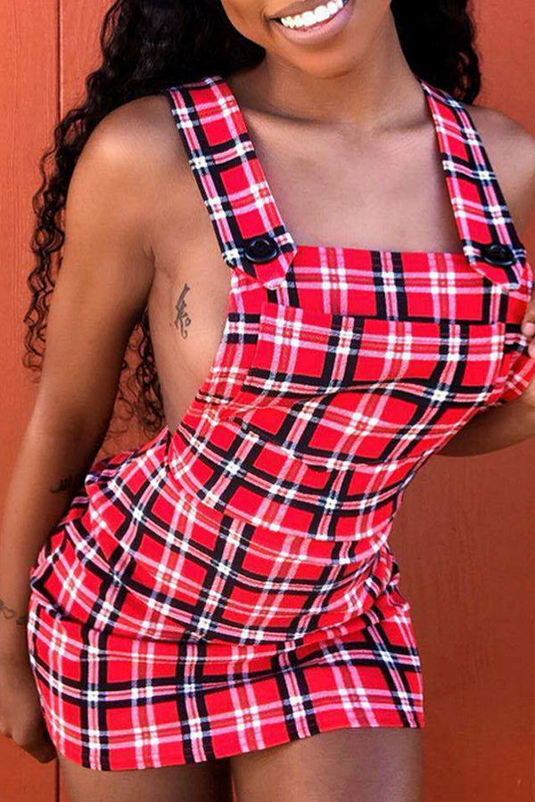 Modishshe Sexy U Neck Backless Plaid Mini A Line Dress