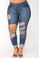 Modishshe Stylish Ripped Bodycon Denim Jeans