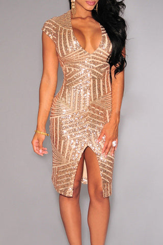 Modishshe Sequined Cocktail Party Dress for Women