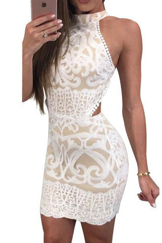 Modishshe Open Back Sexy Bodycon Lace Dress