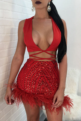 Modishshe Sexy Sequined Two piece Dress