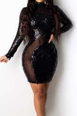 Fashion Sequins Mesh Patchwork Long Sleeve Dress