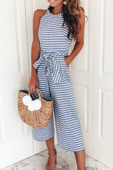 Modishshe Striped Waist Belted Jumpsuit