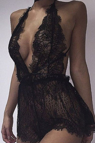 Modishshe Halter Neck Lace Bodysuit