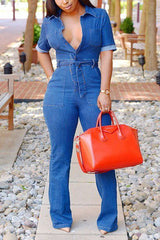 Modishshe Stylish Short Sleeved Denim Jumpsuit