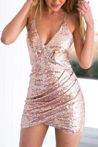 Modishshe Sequined Strappy Mini Dress