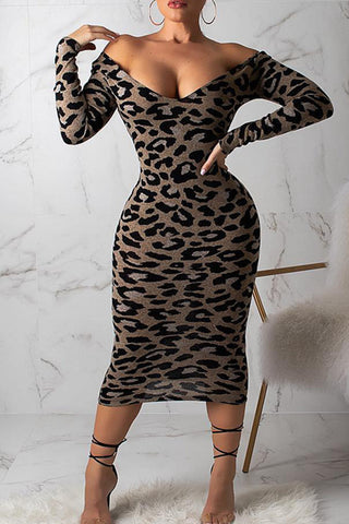 Modishshe Leopard Print Long Sleeve Midi Dress