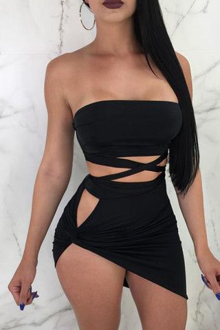 Modishshe Sexy Bandage Bodycon Two-piece Dress