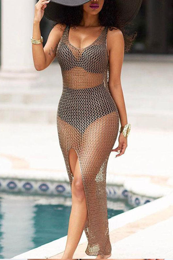 Modishshe Semi Sheer High Slit Swimsuit Cover-up