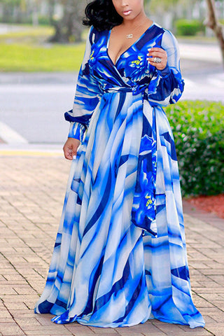 Modishshe Long Sleeves Printing Maxi Dress