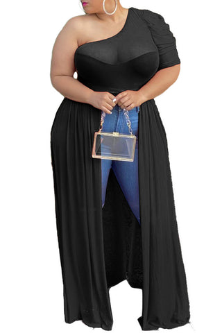 Plus Size Solid Color Mesh Oblique Shoulder Dress