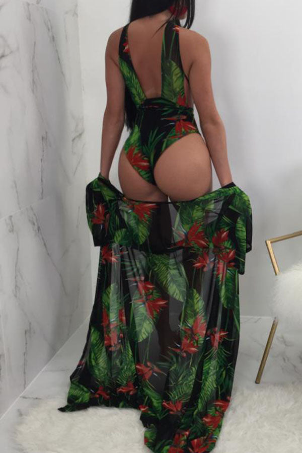 Modishshe Leaf Printed  Sexy Cloak Two-piece Swimwear
