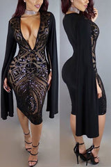 Modishshe Stylish Women Sequined Sexy Party Dress