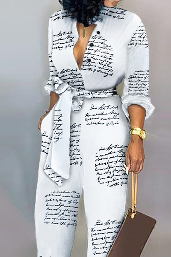 Tie Side Casual Letter Print White Jumpsuit