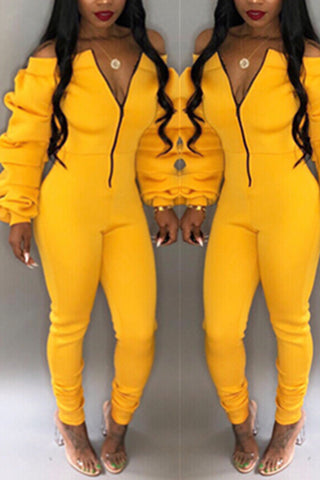 Modishshe Long Sleeve Off The Shoulder Jumpsuits