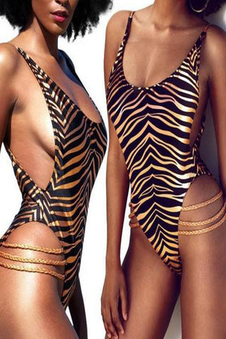 Modishshe Leopard Printed One-piece Swimsuit
