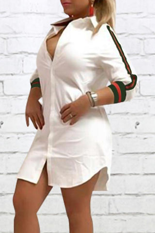 Modishshe Turndown Collar White Shirt Dress