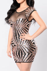 Modishshe Sequined Sleeveless Short Prom Dress