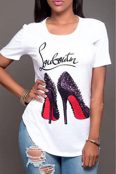 Modishshe Stylish Printed Short Sleeved T-shirt